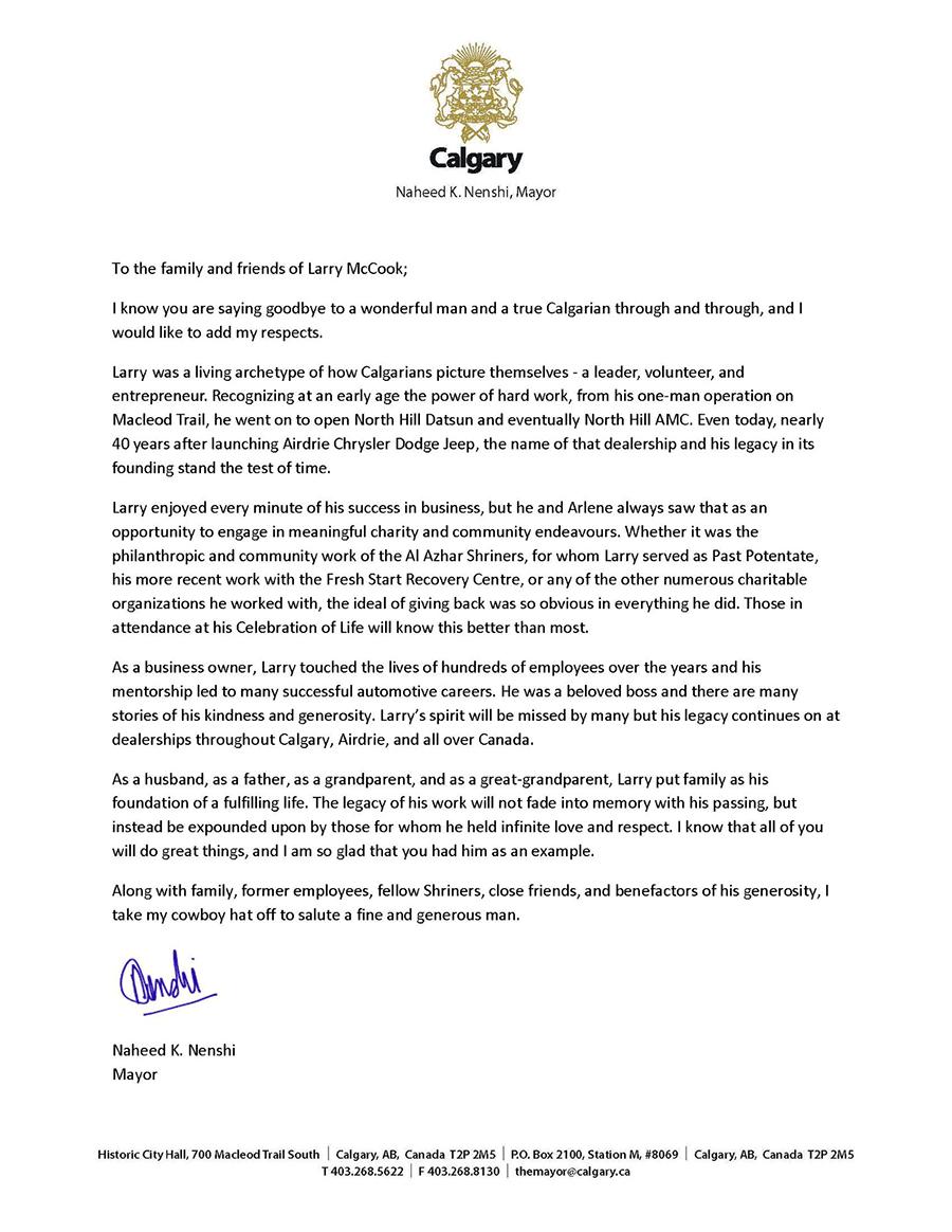 Mayor Nenshi letter